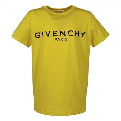 T-shirt gialla in jersey di cotone con logo vintage