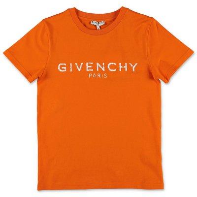 Givenchy t-shirt arancio in jersey di cotone con logo Vintage