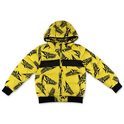 Givenchy logo yellow nylon down feather hooded jacket