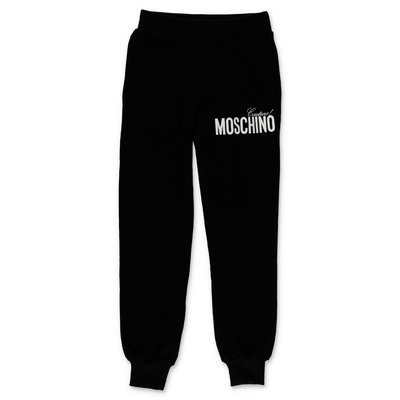 Moschino pantaloni neri in felpa di cotone con logo