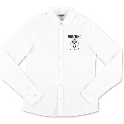 MOSCHINO white cotton poplin shirt