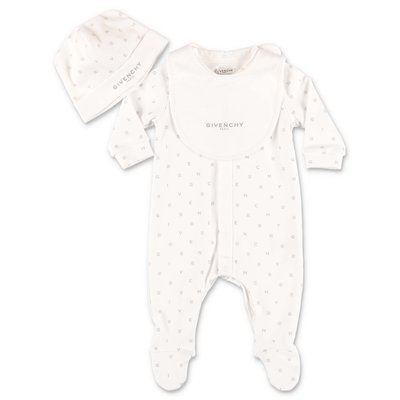 Givenchy white cotton jersey romper, bib & hat set