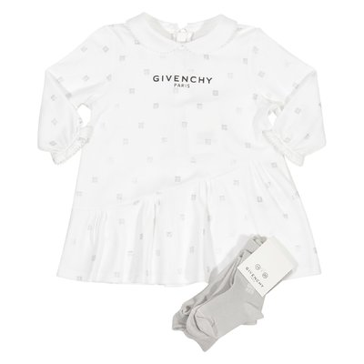 White dress & grey socks cotton jersey two piece set