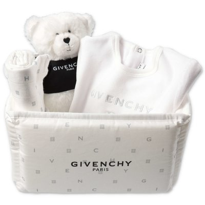 Givenchy white four piece gift set with romper, compagnie conforter, doudou & organizer