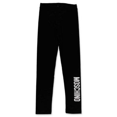 Moschino leggings neri in cotone stretch con logo