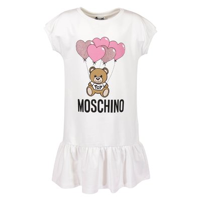 White cotton Teddy Bear sweatshirt dress