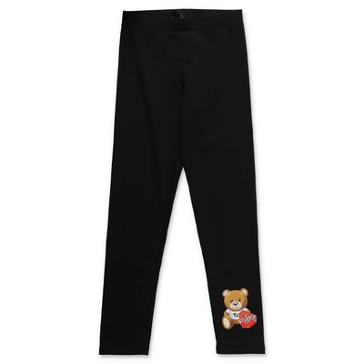 Moschino black stretch cotton leggings
