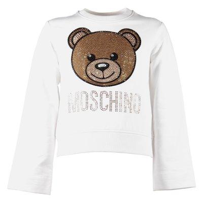 Teddy Bear crystal logo detail cotton sweatshirt