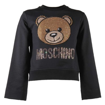 Teddy Bear black crystal logo detail cotton sweatshirt