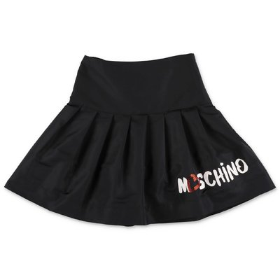MOSCHINO black techno fabric skirt