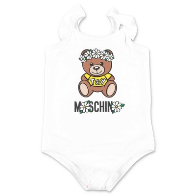 MOSCHINO Teddy Bear white nylon one piece swimsuit