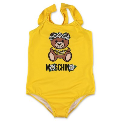 MOSCHINO Teddy Bear yellow nylon one piece swimsuit