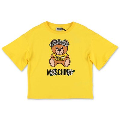 MOSCHINO t-shirt gialla Teddy Bear in jersey di cotone