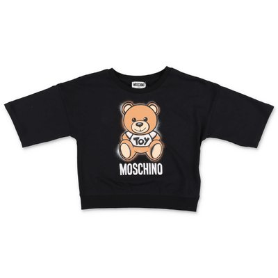 MOSCHINO t-shirt nera Teddy Bear in jersey di cotone