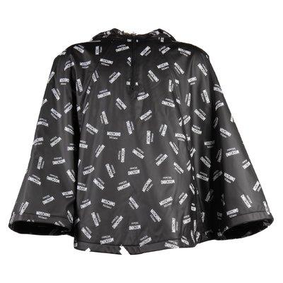 black logo pattern rain jacket