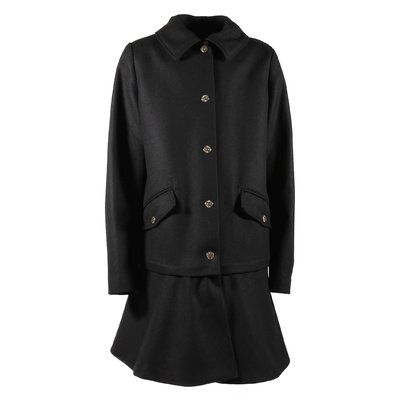 Moschino Black virgin wool A-line shape coat