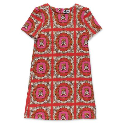Moschino red printed cotton sweatshirt dress