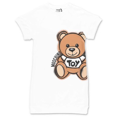 MOSCHINO white Teddy Bear cotton jersey dress