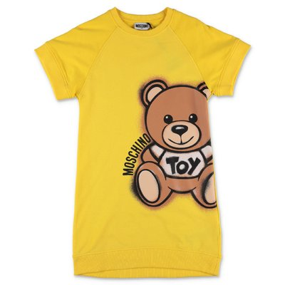 MOSCHINO Teddy Bear yellow cotton jersey dress