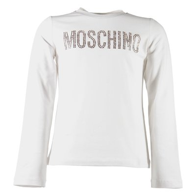 White logo detail and crystals cotton jersey t-shirt