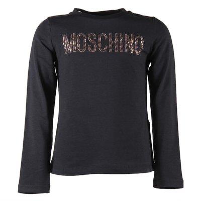 T-shirt nera in jersey di cotone logo con cristalli