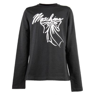 T-shirt nera in jersey di cotone con logo e fiocco stampato