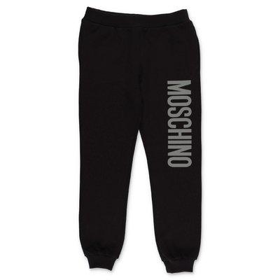 MOSCHINO pantaloni neri in felpa di cotone