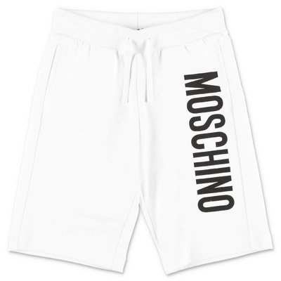 MOSCHINO white cotton sweat shorts