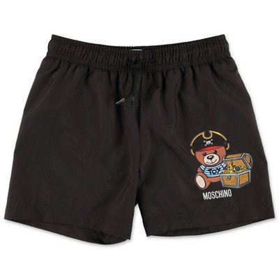 MOSCHINO black nylon swim shorts