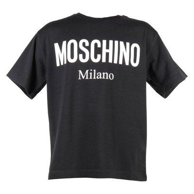 T-shirt nera in jersey di cotone con logo Moschino Milano