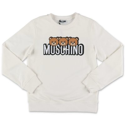 Moschino white logo detail cotton sweatshirt