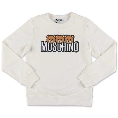 Moschino white logo detail cotton sweatshirt