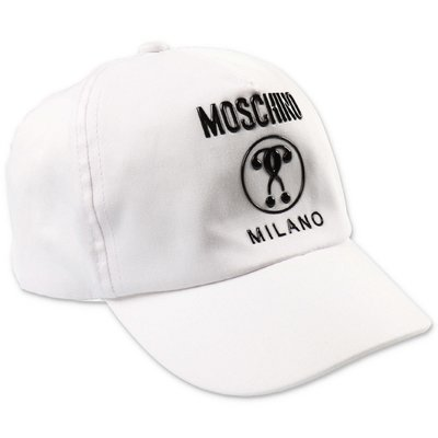 MOSCHINO white cotton canvas baseball cap