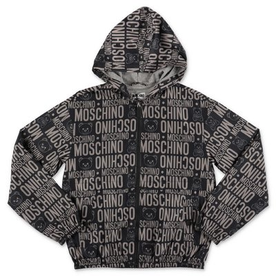 MOSCHINO black logo detail nylon jacket with hood