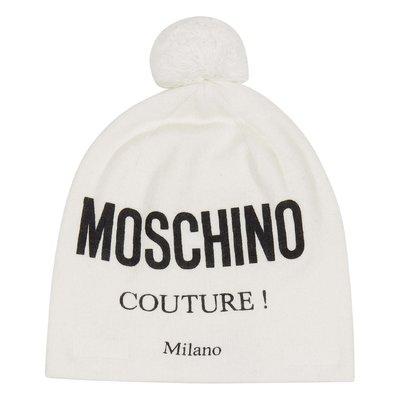 Cappello bianco in maglia di misto cotone e lana con logo e pom pom