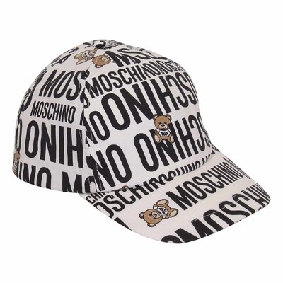 Moschino white printed logo detail cotton cap