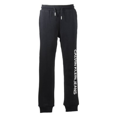 Black logo detail cotton blend pants