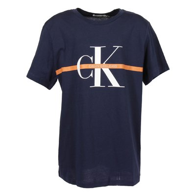 Navy blue logo detail organic cotton jersey t-shirt