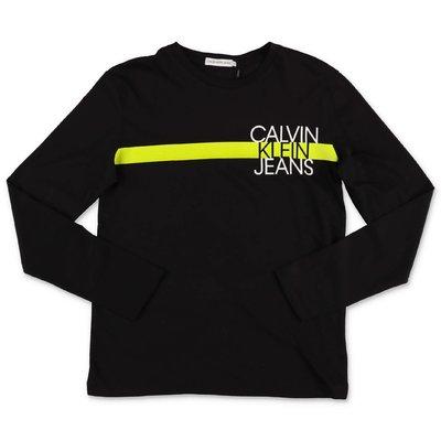 Calvin Klein t-shirt nera in jersey di cotone organico con logo