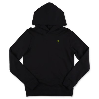 Calvin Klein felpa nera in cotone con cappuccio