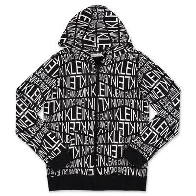 Calvin Klein felpa nera in cotone con logo e cappuccio