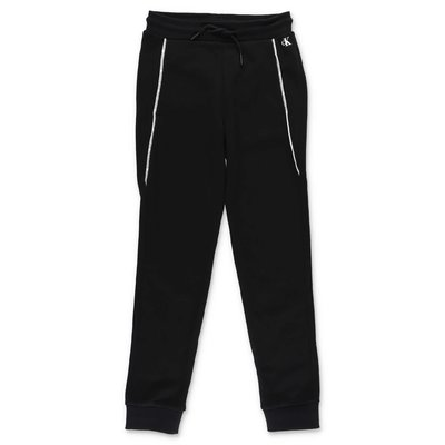Calvin Klein pantaloni neri in felpa di cotone