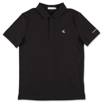 Calvin Klein black cotton piquet polo