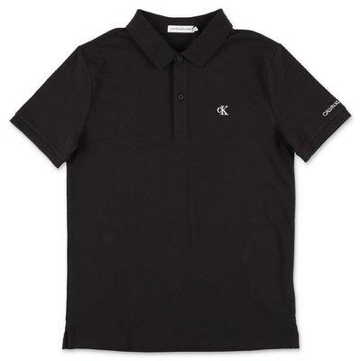 Calvin Klein polo nera in piquet di cotone