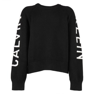 Black cotton & wool knit jumper