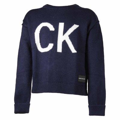 Pullover blu in maglia di cotone e lana con logo jacquard