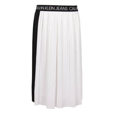 Black and white techno fabric pleated skirt