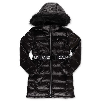 Calvin Klein black nylon hooded down feather jacket