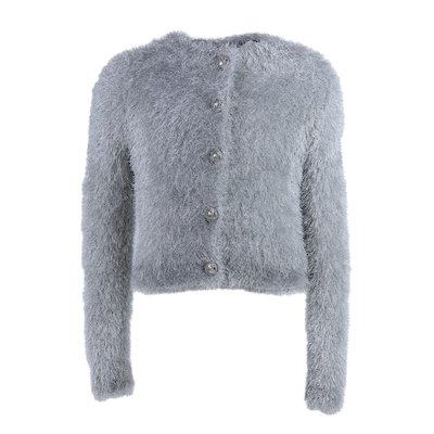 Silver colored metallic fuzzy viscose fitted cardigan