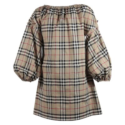 Vintage check cotton poplin gathered sleeve dress